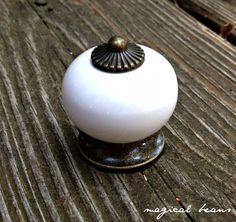 WHITE Ceramic Knob w Oil Rubbed Bronze Mount by MagicalBeansHome.com