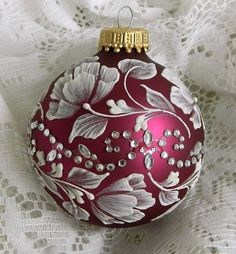 Soft Red MUD Ornament with Roses and Motif Bling by TheMUDLady, $20.00