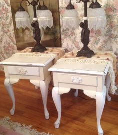 Queen Ann style end tables painted with ASCP in Old White and Pure White Painted End Tables, End Tables, Painted Furniture, Furniture, Home Furniture, Brighton Houses, Chalk Paint Furniture, Shabby Paints, Chic Furniture