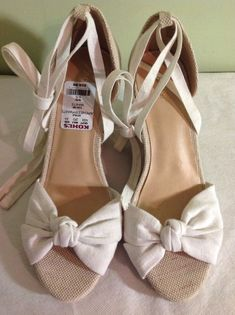 b4bc0741bfbc APT 9 Cheery White Espadrille Cork Wedge Heels Bow Peep Toe Women s Sandals  6.5  Apt9  PlatformsWedges  Casual