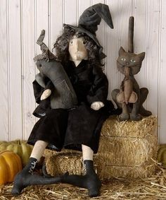 Crow Free Pattern Primitive Folk Art | Primitive E Pattern Folk Art Halloween Witch and by Skunkhollow