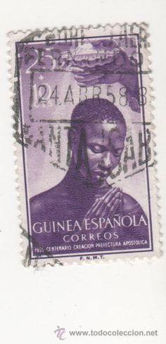 sello de correos guinea española año 1955 centenario creacion prefectura apostolica