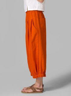 Linen Crumple Effect Harem Pants Orange Funky Fashion, Boho Fashion, Fashion Design, Cool Outfits, Summer Outfits, Casual Outfits, Fashion Pants, Fashion Outfits, Pants For Women