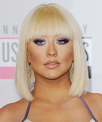 Christina Aguilera Hairstyle: Formal Medium Straight Hairstyle
