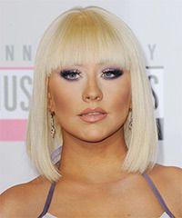 Christina Aguilera Hairstyle: Formal Medium Straight Hairstyle