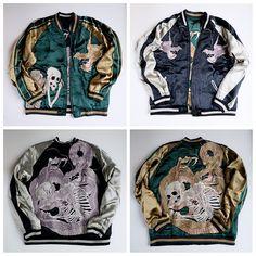 SATORI Japanese Souvenir Punk Rock Skull Skeleton Dragon Pheonix Sukajan Jacket - Japan Lover Me Store
