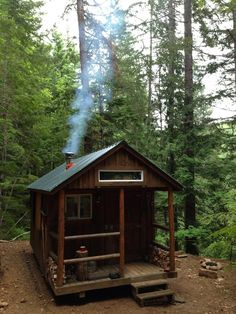 I Haz a Tiny Cabin in the Woods! - bogdan tiny cabin in the woods 1 I Haz a Tiny Cabin in the Woods! The Effective Pictures - Tiny Cabins, Tiny House Cabin, Cabins And Cottages, Cabin Homes, Log Homes, Wooden Cabins, Log Cabins, Tiny Cabin Plans, Tiny Guest House
