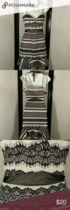 NWOT * Fire Los Angeles * Party Dress Beautiful * Black/Off White * Sheer Mid-driff * Adjustable straps * Above Knee * Bundle and Save * Happy Poshing Fire Los Angeles Dresses