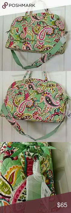 Weekender bag by Vera Bradley Tutti Frutti Brand new bag in pink and green paisley print, quilted cotton with solid pink poly lining.  Removable shoulder strap, trolley sleeve to slide over a suitcase handle, and a total of 9 slip pockets, 5 inside and 4 out.  Perfect for travels or for the gym. Vera Bradley Bags Travel Bags