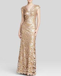 Tadashi Shoji Gown - Double V-Neck Sequin | Bloomingdale's