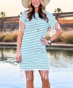Blue & White Stripe Fringe Shift Dress - Women #zulily #zulilyfinds