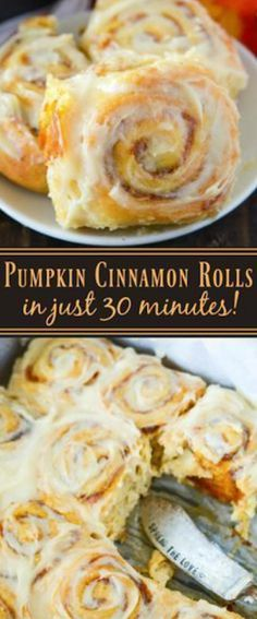 Pumpkin Cinnamon Rolls are made in just 30 minutes! Sweet pumpkin cinnamon rolls are made quickly with crescent dough and then covered in a . Pillsbury Crescent Recipes, Crescent Roll Recipes, Crescent Rolls, Crescent Dough, Pumpkin Cinnamon Rolls, Pumpkin Cream Cheeses, Pumpkin Dessert, Rolls Recipe, Dessert Recipes