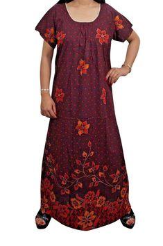 Indiatrendzs Cotton Nighty Floral Printed Maroon Sleepwear For Women Chest-  44
