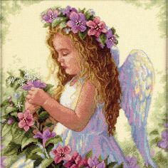 <div>This angel brings forth sweetness and grace in this pastel-colored, counted cross stitch de...