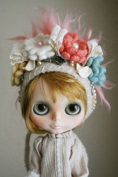 OOAK Gnome Helmet for Blythe Floral Collage Shabby by elifins
