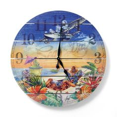 Make sure you always on island time with our exclusive Margaritaville Seas the Day Outdoor Clock. The impressive, oversized face handmade from    kiln-dried western red cedar and features a stunning screen-printed mural that captures the essence of Margaritaville. Includes    all-weather stainless steel hardware with black clock hands.            All-weather stainless steel hardware                Clock-face screen printed with UV-resistant ink                High-torque clock movement  ...