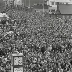 "An image of one the more successful general strikes in history. On Oct 24/75, Iceland's women refused to do any work - outside or inside the home - taking ""the day off"" from paid labor, housework, & child care. An estimated 90 percent (what!!!) of Icelandic women participated & 25,000 a tenth of the population - gathered at a rally in Reykjavik. As you might imagine, the country was basically shut down."