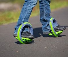 Orbitwheel Foot Wheels - With these Shoe Skates by Orbitwheel you'll have a step up on your friends that are still wearing outdated roller blades. The idea is simple – two feet, two wheels and you're ready to go. Step into the center of the wheel and you'll be on your way to fast action tricks over multiple surfaces. #orbitwheel @orbitwheel #exercise