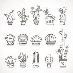 Download - Set of geometric cacti, cactus plants — Stock Illustration #81638054