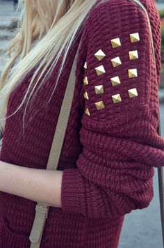 Maroon Sweater with Gold Studded Sleeves