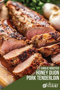 Perfectly tender Honey Dijon Garlic Roasted Pork Tenderloin only requires a few ingredients and a few minutes of your time to get roasting in the oven. It& a flavorful, juicy pork tenderloin that your family will love! Pork Tenderloin Oven, Pork Roast In Oven, Pork Roast Recipes, Healthy Pork Tenderloin Recipes, Pork Chops, Grilled Pork Tenderloin Marinade, Pot Roast, Roast Pork Fillet, Pork Tenerloin