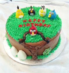 Angry Birds themed cake - buttercream iced cake with modeling chocolate birds