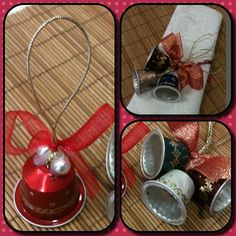 Este trabajo es de mi amiga Montse. Me parece un original y estupendo método de reciclar capsulas de Nespresso. Animo a todo el mundo a que estas navidades fabrique sus adornos con esta técnica.