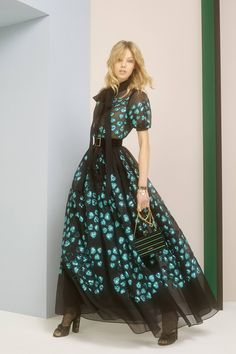 Elie Saab Pre Fall 2017: I like this modern take on a Victorian look! The bright teal blue color is very 80s.