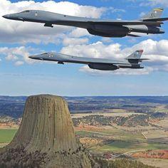 B-1's flying over Devil's Tower, Wyoming