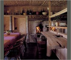 Charming rustic dwelling on Saaremaa Island / rwoven ceilings / open fireplace / scrubbed wood / stone floors Cottage Interiors, Rustic Interiors, Old Cottage, Rustic Cottage, Cottage Living, Tadelakt, Wood Stone, Architecture, Home And Living
