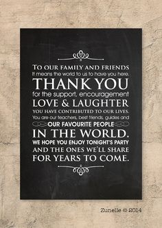 Wedding Sign // Wedding Thank You Note // Wedding decor by Zunelle, £4.45