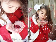 Great Valentine's day  children's photography shoot! #kids girl blowing heart confetti from her hand, February 2015