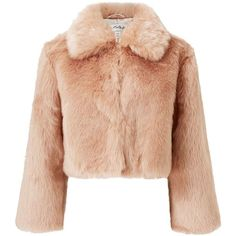 Miss Selfridge PREMIUM Pink Faux Fur Jacket (€84) ❤ liked on Polyvore featuring outerwear, jackets, powder blush, pink faux fur jacket, miss selfridge, pink jacket, fake fur jacket and faux fur jacket