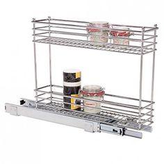 "64.95 Dimensions: 5"" x 21"" x 17.5"" H Item# 31576 2-Tier Chrome 5 Slide-Out Cabinet Basket"
