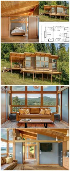 Tiny Home - 550 sq ft Prefab Timber Cabin Tiny House Cabin, Tiny House Living, Tiny House Design, Cabin Homes, Small House Plans, House On Stilts, Cabin Design, Cottage Design, Living Room