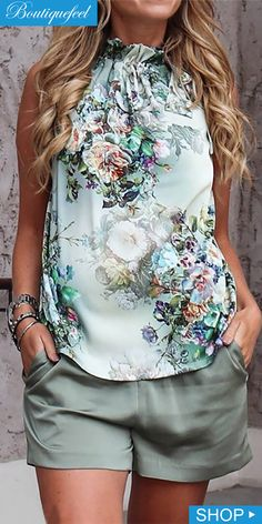 Women Green Floral Print High Neck Sleeveless Casual Top - S Tie Neck Blouse, Tumblr Outfits, Floral Fashion, Weekend Wear, Fashion Outfits, Womens Fashion, Style Fashion, Casual Outfits, Ladies Dress Design