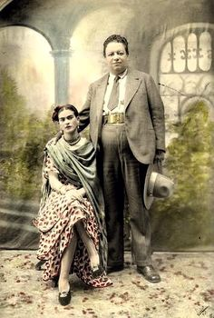 Wedding portrait of Frida Kahlo and Diego Rivera