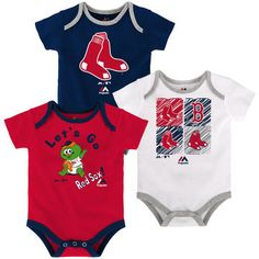 8793a1d05b27 Boston Red Sox Majestic Newborn   Infant Go Team 3-Pack Bodysuit Set -  Navy Red White