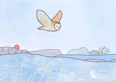 "An illustrated greeting card of a Barn Owl flying over a frost covered meadow. For Christmas or other Winter occasions! - 5x7"" standard size Greeting Cards - Printed on high quality, sturdy card stock"
