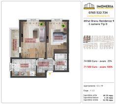 Apartamente de vanzare Mihai Bravu Residence 9 -2 camere tip D Utila, Floor Plans, Floor Plan Drawing, House Floor Plans