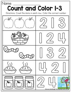 Basic skills for preschool!Count and Color! Basic skills for preschool! September Preschool, Fall Preschool, Preschool Lessons, Preschool Learning, Teaching Math, Preschool Activities, Printable Preschool Worksheets, Math Worksheets, Teaching Numbers