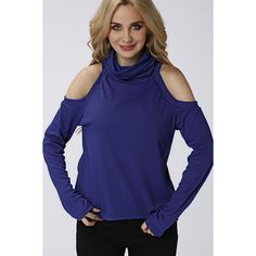 Yoins Navy High Neck Cold Shoulder Loose Jumper (¥2,265) ❤ liked on Polyvore featuring tops, sweaters, navy, blue top, cut-out shoulder tops, navy blue jumper, navy blue sweater and cut out shoulder sweater
