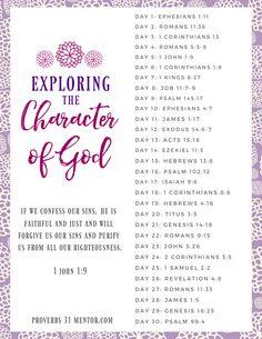Exploring the Character of God Bible Reading Plan Bible Study Notebook, Bible Study Plans, Bible Plan, Bible Study Tools, Prayer Scriptures, Bible Prayers, Bible Verses, Healing Scriptures, Healing Quotes