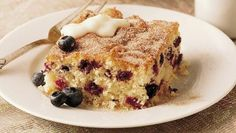 Looking for a fruit dessert? Then check out this blueberry brunch cake sprinkled with sugar and cinnamon that's perfect for holidays.