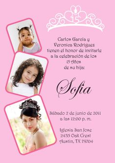 Quinceanera Invitation with photos  English and by cecydesigns, $15.00