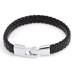 Amazon.com: Bling Jewelry Unisex Black Braided 8mm Flat Leather Cord Bracelet 8.5 Inch: Jewelry