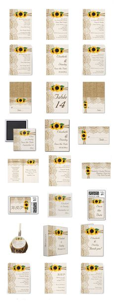 Elegant white lace, ribbon, sunflowers and burlap wedding invitation collection: wedding invitations, bridal shower invites, Save the Date announcements, postage stamps and more.