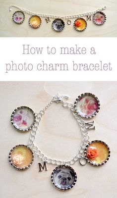 Create a personalized bracelet using photos and Dimensional Magic! Homemade Jewelry, Homemade Gifts, Mod Podge Crafts, Diy Crafts, Photo Charm Bracelet, Creation Crafts, Mothers Day Crafts For Kids, Photo Charms, Jewellery Display