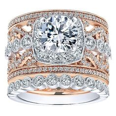 18K Rose and White Gold Stacked Multi-Band Vintage Diamond Engagement Ring. This ring features 1.21cttw of round diamonds with a two-tone multi-band stacked vintage style of rose and white gold. Featu