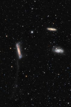 New picture of the Leo Triplet Galaxies showing the Tidal Tail of NGC 3628 - these galaxies can be introduced individually as NGC 3628 (left), M66 (bottom right), and M65 (top right).   (credit & copyright: Thomas V. Davis (tvdavisastropix.com))